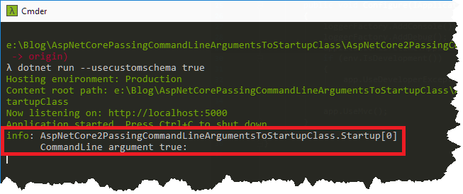 ASP NET Core - passing command-line arguments to Startup